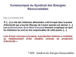 Communiqu du Syndicat des Energies Renouvelables Paris le