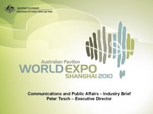Communications and Public Affairs Industry Brief Peter Tesch