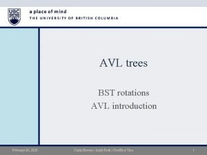 AVL trees BST rotations AVL introduction February 26