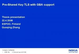 PreShared Key TLS with GBA support Thesis presentation