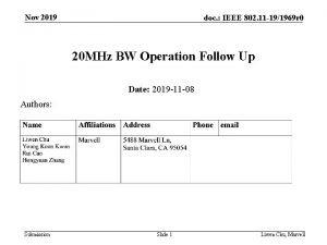 Nov 2019 doc IEEE 802 11 191969 r