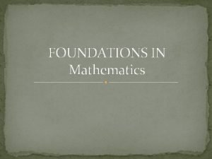 FOUNDATIONS IN Mathematics The preschool learning foundations focusing