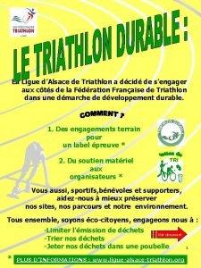 La Ligue dAlsace de Triathlon a dcid de