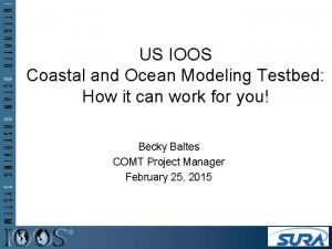 US IOOS Coastal and Ocean Modeling Testbed How