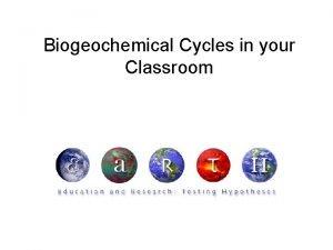 Biogeochemical Cycles in your Classroom Biogeochemical Cycles in