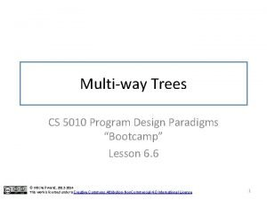 Multiway Trees CS 5010 Program Design Paradigms Bootcamp