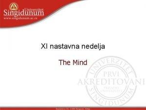 XI nastavna nedelja The Mind The Mind Lesson
