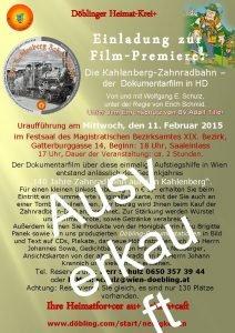 Dblinger HeimatKrei Einladung zur FilmPremiere Die KahlenbergZahnradbahn der