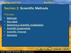 Biology and You Section 2 Scientific Methods Preview