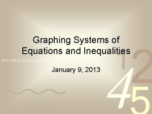 Graphing Systems of Equations and Inequalities January 9
