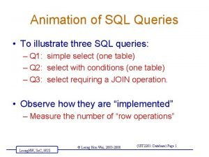 Animation of SQL Queries To illustrate three SQL