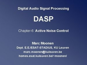 Digital Audio Signal Processing DASP Chapter6 Active Noise