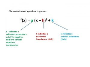 The vertex form of a parabola is given