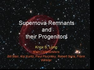 Supernova Remnants and their Progenitors Knox S Long