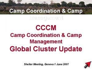 Camp Coordination Camp Management CCCM Camp Coordination Camp