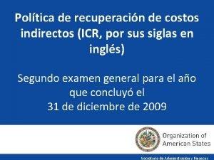 Poltica de recuperacin de costos indirectos ICR por