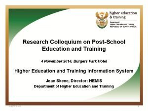 Research Colloquium on PostSchool Education and Training 4