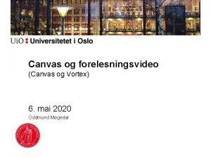 Canvas og forelesningsvideo Canvas og Vortex 6 mai