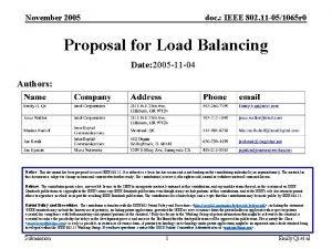 November 2005 doc IEEE 802 11 051065 r