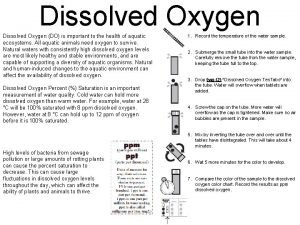 Dissolved Oxygen DO is important to the health