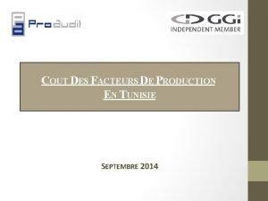 COUT DES FACTEURS DE PRODUCTION EN TUNISIE SEPTEMBRE
