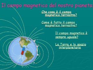 Il campo magnetico del nostro pianeta Che cosa