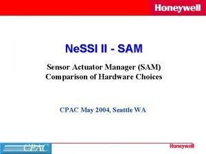 Ne SSI II SAM Sensor Actuator Manager SAM
