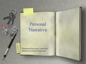 Personal Narrative Writing the first essay connectors habitual