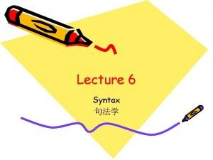 Lecture 6 Syntax What is syntax SYNTAX is