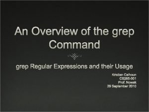 An Overview of the grep Command grep Regular