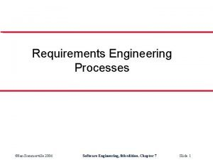 Requirements Engineering Processes Ian Sommerville 2006 Software Engineering