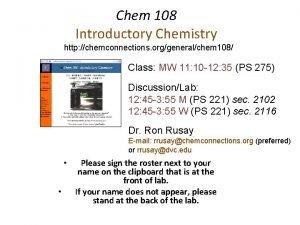 Chem 108 Introductory Chemistry http chemconnections orggeneralchem 108