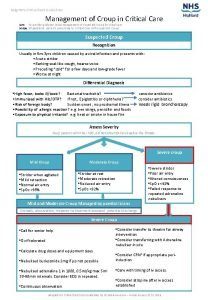 Raigmore Critical Care Guidelines Management of Croup in