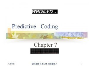 Predictive Coding Chapter 7 2021226 1 Introduction n