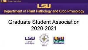 Graduate Student Association 2020 2021 2020 2021 Officers