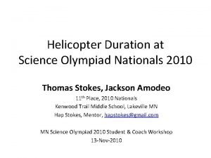 Helicopter Duration at Science Olympiad Nationals 2010 Thomas