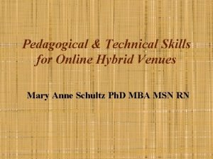 Pedagogical Technical Skills for Online Hybrid Venues Mary