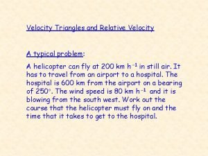 Velocity Triangles and Relative Velocity A typical problem