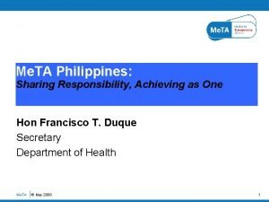 Me TA Philippines Sharing Responsibility Achieving as One