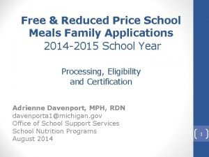 Free Reduced Price School Meals Family Applications 2014