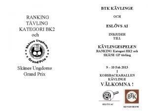 BTK KVLINGE RANKING TVLING KATEGORI BK 2 och