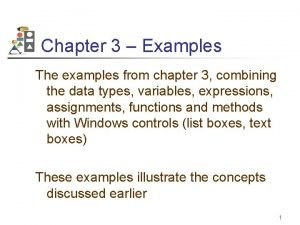 Chapter 3 Examples The examples from chapter 3