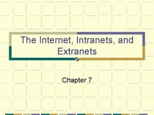 The Internet Intranets and Extranets Chapter 7 Chapter