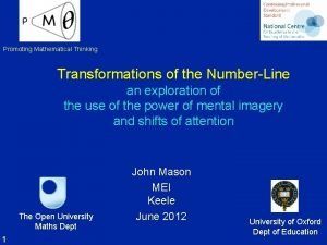 Promoting Mathematical Thinking Transformations of the NumberLine an