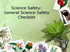 Science Safety General Science Safety Checklist Key Question