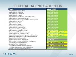 FEDERAL AGENCY ADOPTION Agency Use of NIEM Department