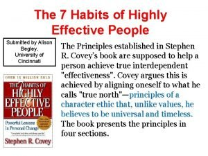 The 7 Habits of Highly Effective People Submitted