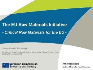 The EU Raw Materials Initiative Critical Raw Materials