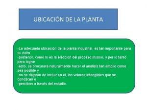 UBICACIN DE LA PLANTA La adecuada ubicacin de