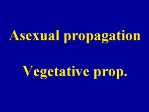 Asexual propagation Vegetative prop Asexual propagation Cuttage Layerage